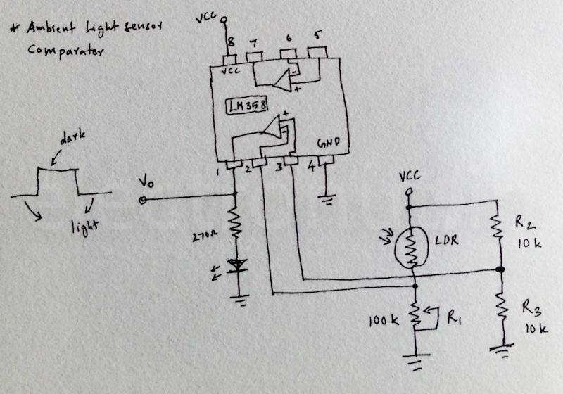 Ambient Light sensor using an Op-Amp Comparator