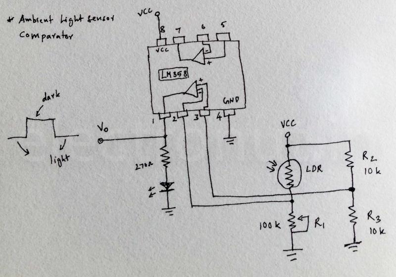 Ambient Light sensor using an Op-Amp Comparator