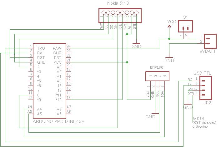 Temperature/Alude/Pressure Display using BMP180 on arduino uno schematic, arduino mega schematic, arduino circuit schematic, arduino board schematic, arduino shield schematic, switch schematic, arduino nano schematic, arduino servo projects,